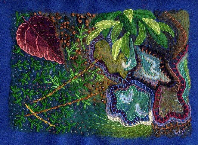 "Wynn Yarrow ""Mossy Bank"" 9x12 felting and embroidery $650."