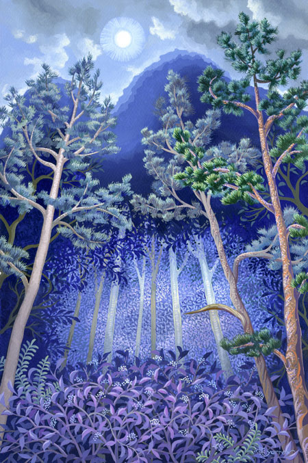 "Wynn Yarrow ""The Night the Tree Fell"" 17x11 acrylic/gouache $1,200."