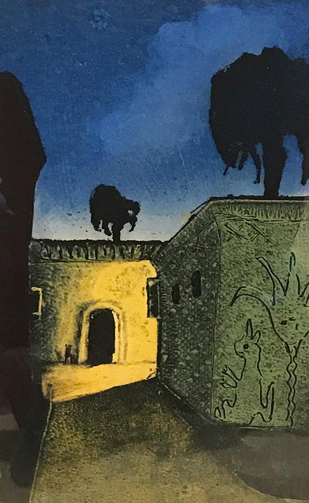 """Treacy Ziegler """"Farasina at Night"""" 11.5x7 monoprint $500."""
