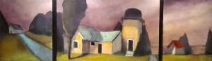 "Treacy Ziegler ""The Gatekeeper"" 16x54 oil on panel (triptych) $4,500."