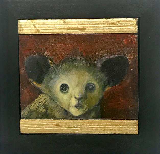 """Treacy Ziegler """"The Possibility of Being"""" 6x6 oil/gold composite on panel $400."""