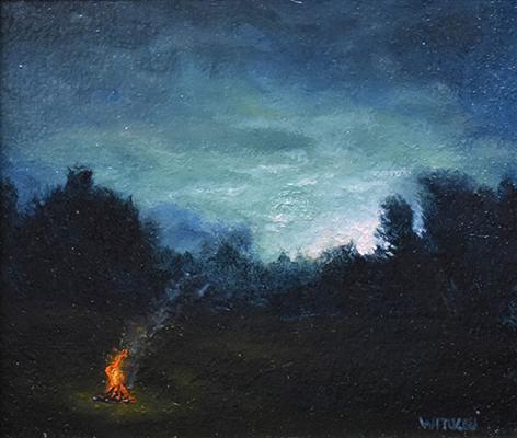 """Sean Witucki """"Darkness Falls"""" 4x4.5 oil/paper $350. SOLD"""