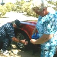 Steve changing tyre 50th annerversary