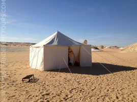 A tent in the midst of the White Desert