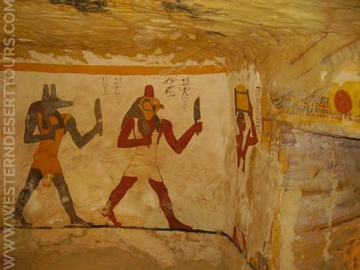Wall paintings in the tomb of Banentiu in Qarat Qasr Salim
