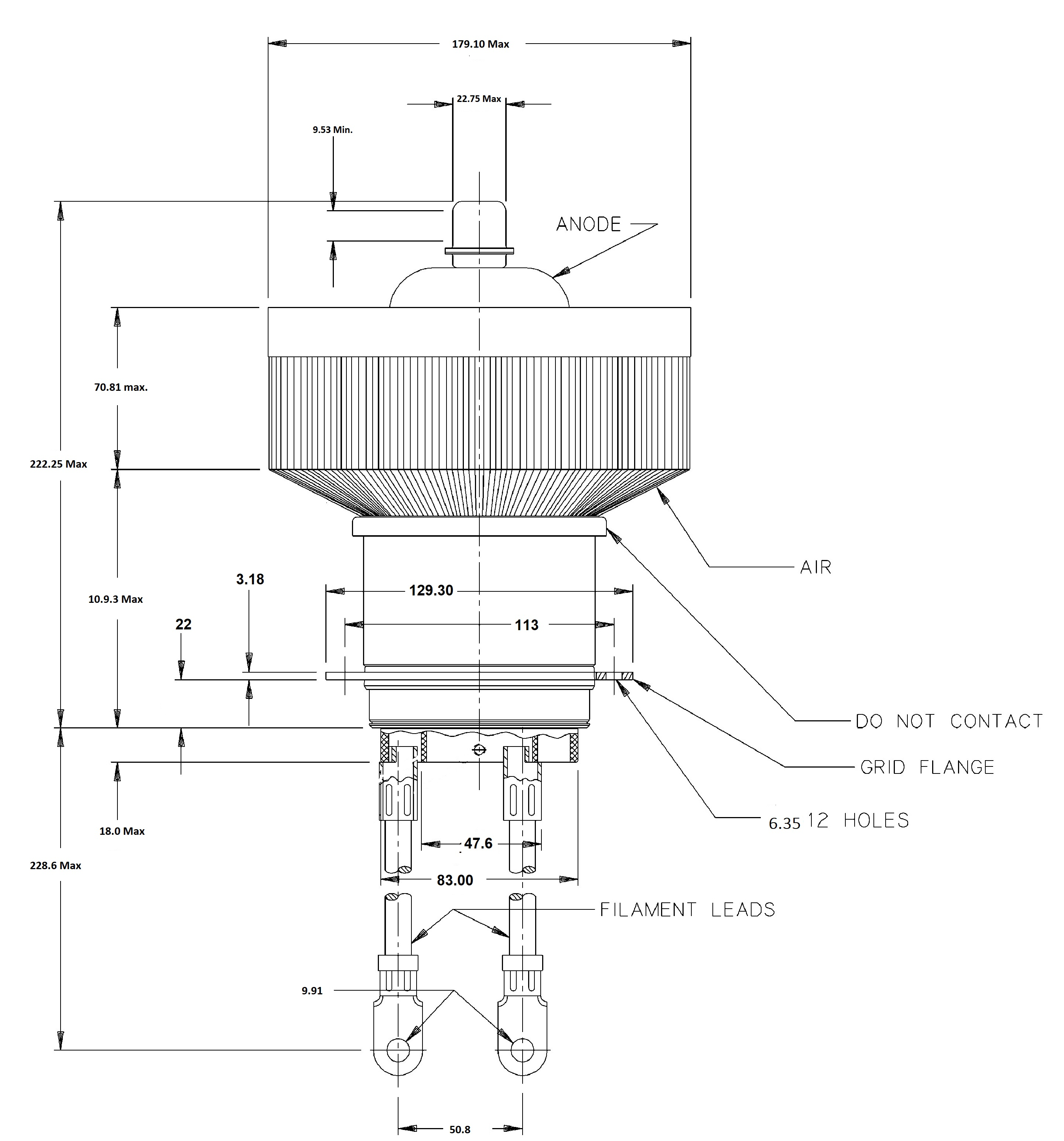 3cx H3 Triode 41kw Oscillator Valve Electron Tube