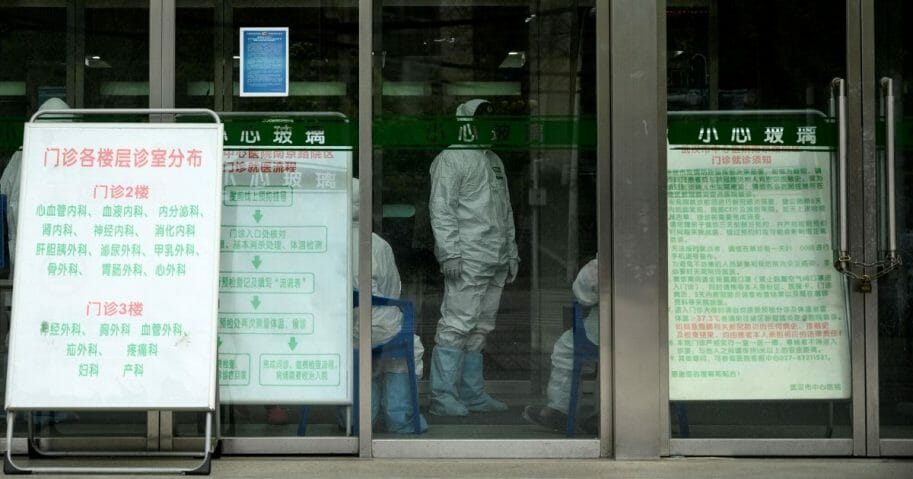 Medical workers are seen inside the Wuhan Central Hospital in China's central Hubei province April 1, 2020.