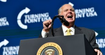 Rush Limbaugh speaks before U.S. President Donald Trump takes the stage
