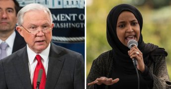 Former Attorney General Jeff Session, left; Rep. Ilhan Omar, right.