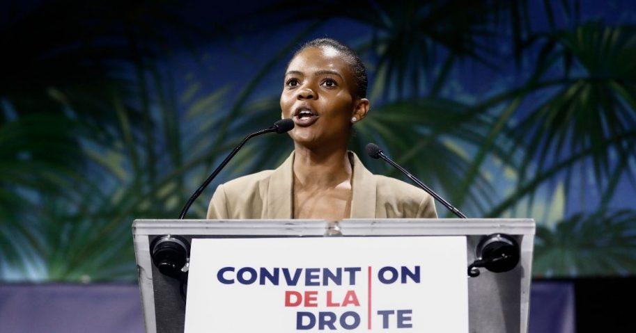 """Conservative activist Candace Owens delivers a speech during the """"Convention de la Droite"""" in Paris on Sept. 28, 2019."""