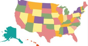 A map of the United States, with states in different colors.