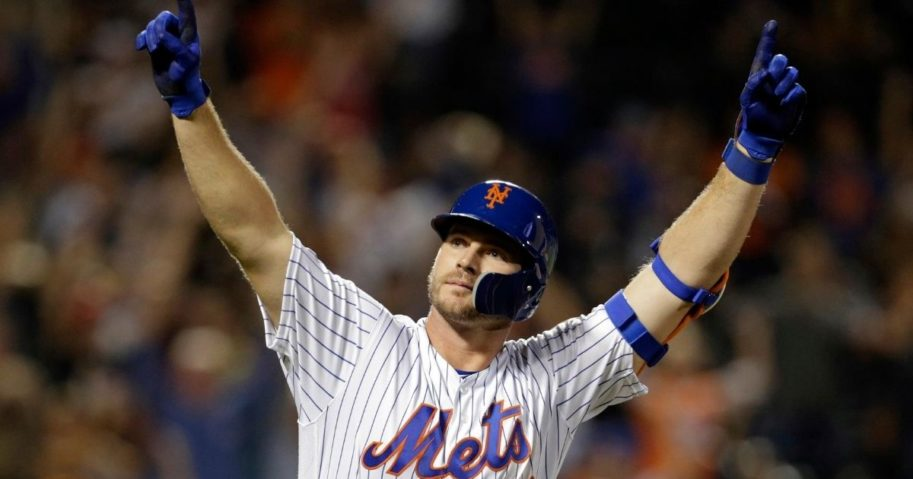 In this Sept. 28, 2019, file photo, New York Mets hitter Pete Alonso reacts after hitting his 53rd home run of the season during the third inning of a baseball game against the Atlanta Braves in New York.