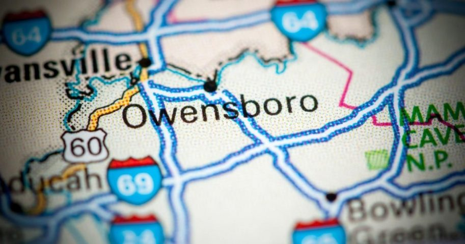 A stock image of a map showing Owensboro, Kentucky, is pictured above.