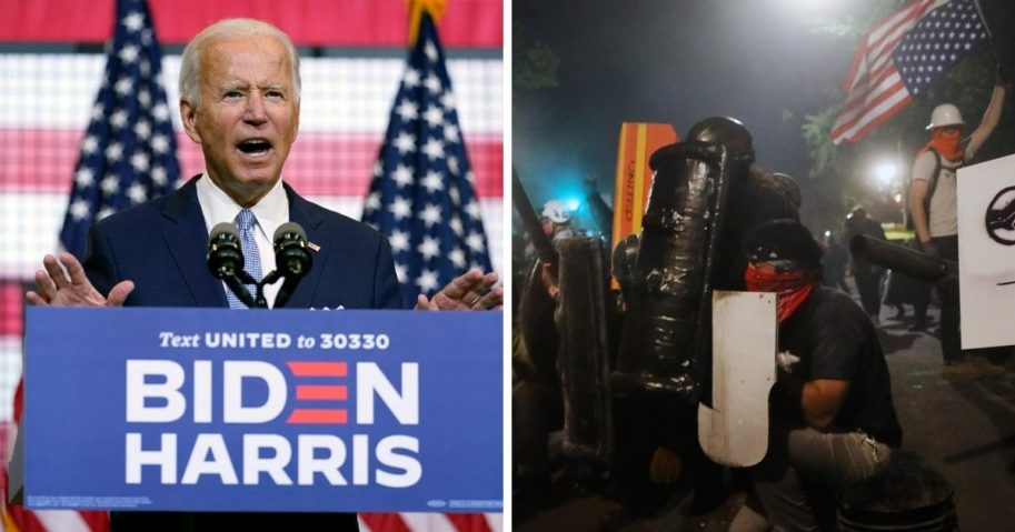 Former Vice President Joe Biden, left; rioters in Portland, Oregon, right.