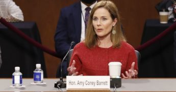Supreme Court Justice nominee Judge Amy Coney Barrett responds to questions on the second day of her Supreme Court confirmation hearings Tuesday in Washington, D.C.