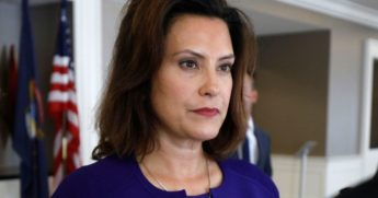 Gretchen Whitmer, Michigan Democratic gubernatorial nominee, speaks with a reporter after a Democrat Unity Rally at the Westin Book Cadillac Hotel in Detroit on Aug. 8, 2018.