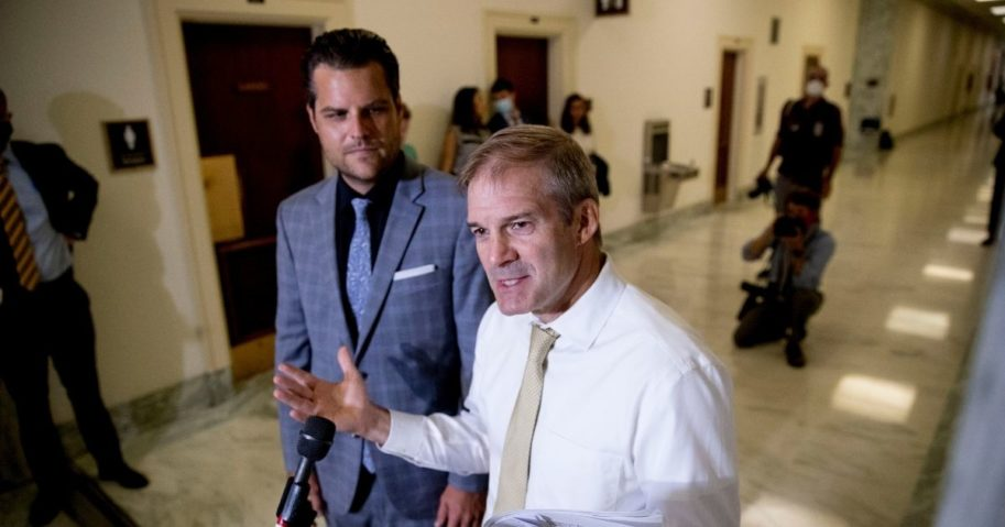 Ranking member GOP Rep. Jim Jordan of Ohio, right, accompanied by GOP Rep. Matt Gaetz of Florida, speaks to members of the media following a House Judiciary Committee closed door meeting with former federal prosecutor for the Southern District of New York Geoffrey Berman on Capitol Hill on July 9, 2020, in Washington.