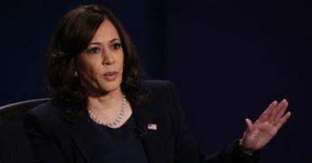 Democratic vice presidential nominee Kamala Harris speaks during the vice presidential debate against Vice President Mike Pence at the University of Utah in Salt Lake City on Wednesday.