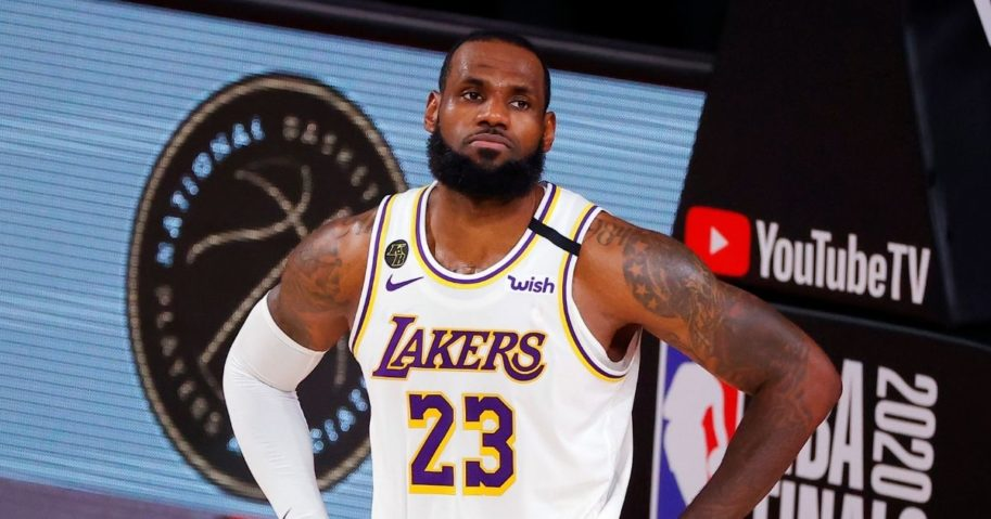 LeBron James of the Los Angeles Lakers reacts during the second half against the Miami Heat in Game Three of the 2020 NBA Finals at AdventHealth Arena at the ESPN Wide World Of Sports Complex in Lake Buena Vista, Florida, on Sunday.