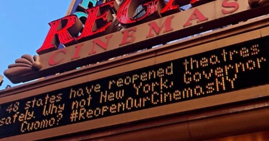 The Regal E-Walk in New York City's Times Square took its plea public last week to Democratic New York Gov. Andrew Cuomo to open up the theaters.