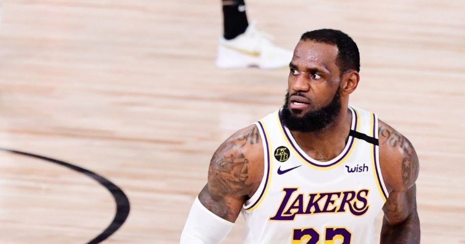 LeBron James #23 of the Los Angeles Lakers reacts during the fourth quarter against the Miami Heat in Game Six of the 2020 NBA Finals at AdventHealth Arena at the ESPN Wide World Of Sports Complex.