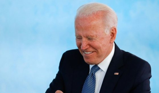 President Joe Biden attends a plenary session during G-7 summit in Carbis Bay on June 13 in Cornwall, United Kingdom.