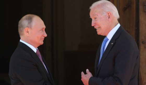 Russian President Vladimir Putin, left, greets U.S. President Joe Biden during the U.S.-Russia summit Wednesday in Geneva, Switzerland.
