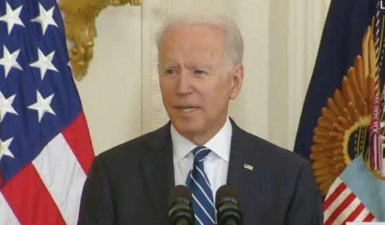 President Joe Biden stumbles through a speech to new American citizens at the White House on Friday.