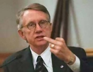 harry reid flips the bird 300x234 Senate once again rejects House bill as shutdown looms