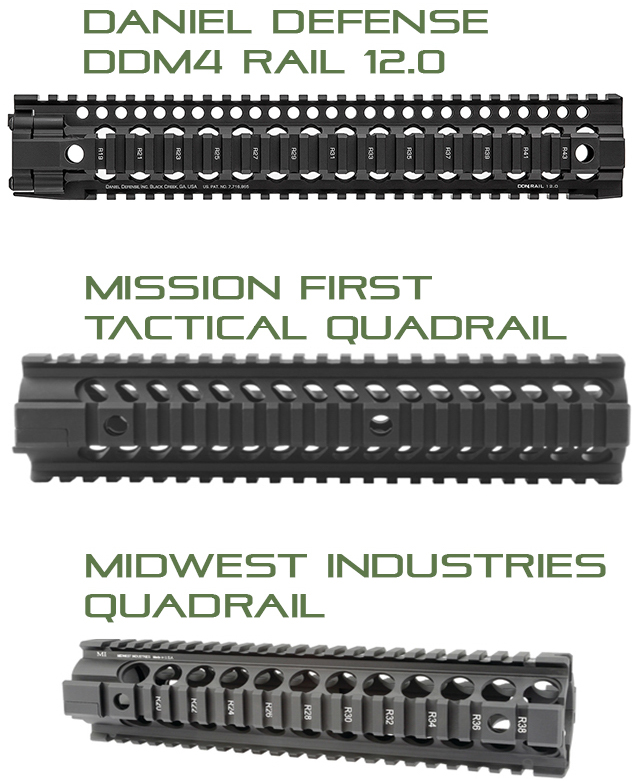 Examples of Different Quad rail handguard | Western Sport