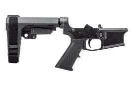 M4E1 Pistol Complete Lower Receiver w/ A2 Grip & SBA3 Brace - Black/Black