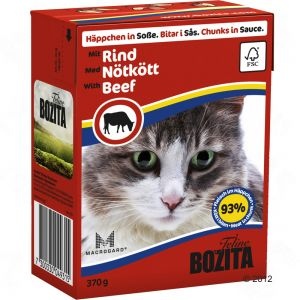 To complement their diet, we use wet food from Bozita. Unlike most types of wet food this is a complete food, containing all vitamins and amino acids a cat needs. Chunks in sauce come in six different flavours, and our cats love them all.