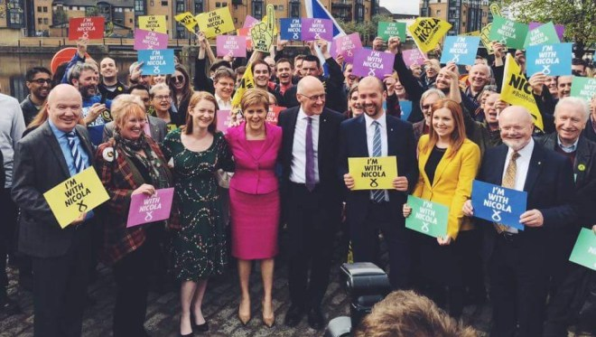 63 SNP MPs. Shirley-Anne to Nicola Sturgeon's right.