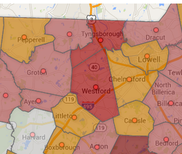 A partial screenshot of the Boston Business Journal map, with Westford in the middle