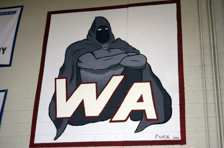 Sam Frackleton helped out the Westford Academy athletics department, including this huge mural in the gym.