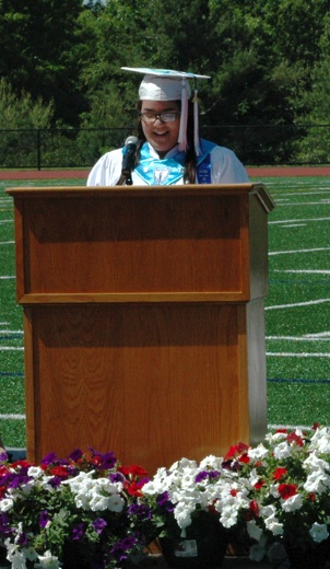 Manuela Romano of Westford delivers her speech as president of the Nashoba Tech Class of 2014. (Credit: Derek Rochon)