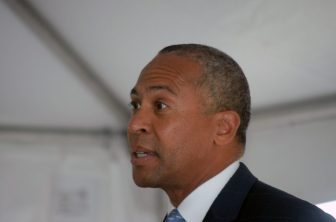 Governor Deval Patrick at the Red Hat facility on Sept. 9, 2014