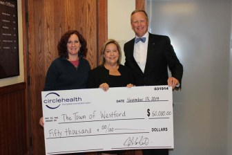 Photo caption (left-right): Joanne Martel, Westford Board of Health member and Sandy Collins, RN, Health Director, Westford Health Department accept a donation of $50,000 from Circle Health presented by Joseph A. White, President, Lowell General Hospital. (courtesy: Sara Comeau)