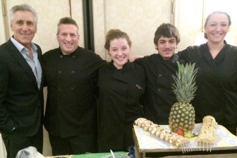 "With host and emcee Billy Costa, left, at the ""Night of Sweet Indulgence"" event at the UMass Lowell Inn & Conference Center in Lowell are, from left, Nashoba Tech Chef-Instructor Jeremy Bussiere, seniors Michaela Casey and Sean DeFreitas, both of Pepperell, and Chef-Instructor Carley Engle. (courtesy Dan Phelps)"