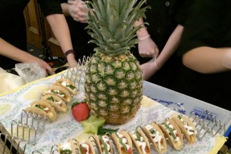 "Nashoba Tech's Mini-Tropical Fruit Taco, which finished among the top three desserts at the ""Night of Sweet Indulgence"" event at the UMass Lowell Inn & Conference Center."