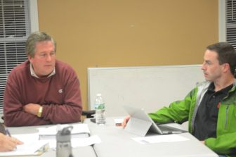 Kacy Caviston (left) and Chris Barrett at the April 11, 2016 Parks and Recreation Committee Meeting