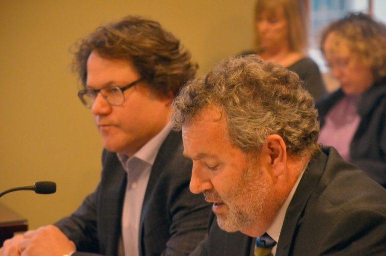 Brad Zerman (left) and Doug Deschenes at the May 10 Board of Selectmen meeting.