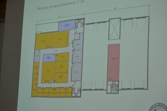 The second floor of TGAS' proposal. Their bathrooms are clustered in the middle on the first floor and second floor to minimize plumbing costs. (Boston Road is to the bottom of this plan)