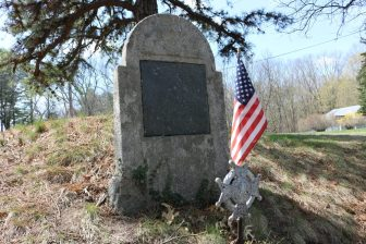 The head stone marking the grave of Jonas Keyes, a Revolutionary War soldier. The marker is on Jonas Road. PHOTO BY JOYCE PELLINO CRANE