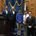 From left on the House Rostrum are state Rep. James Arciero, House Speaker Robert DeLeo, and Westford Academy students Derek Lo, Andrew Dickey and Andrew Friel. COURTESY PHOTO