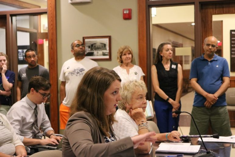 Kate Olson and Edie Fruscione propose a dog park to selectmen. PHOTO BY JOYCE PELLINO CRANE