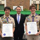 Eagle Scouts Steven McKeen, (left) and Jack Laushine (center), are honored by state Rep. James Arciero. COURTESY PHOTO
