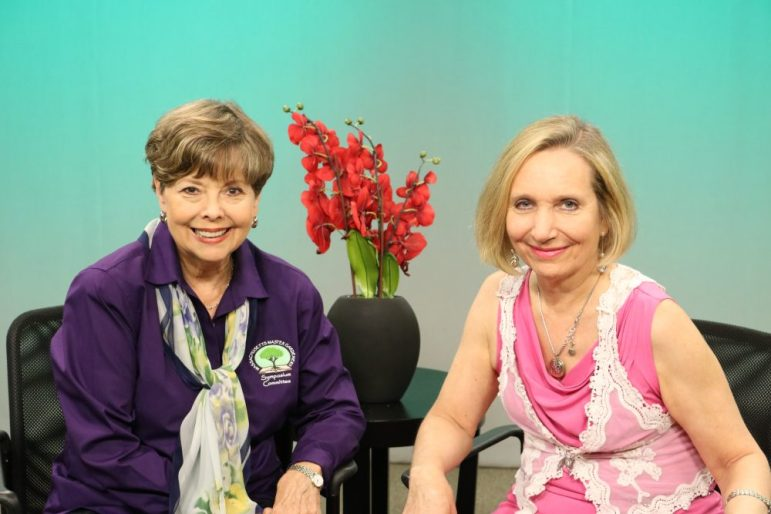 Master Gardener Ann Hopps Morgan and WestfordCAT News Director Joyce Pellino Crane. PHOTO BY NICK WOODBURY