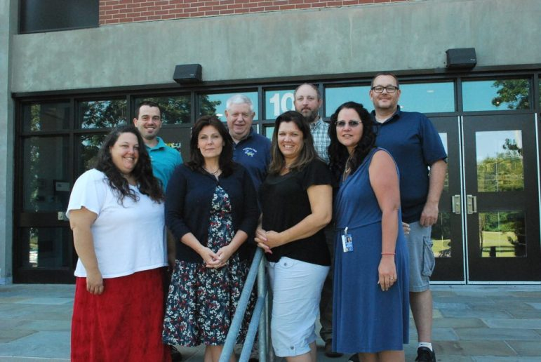 Nashoba Valley Technical High School and its teacher-mentors welcomed six new teachers for the 2017-2018 school year. Front row, from left, Carolyn Quinn (Biology, Special Education), Michelle Sherbak (Math), Lisa DePaola (Math) and mentor Vicki Poulin, who teaches Health Assisting. Back row, from left, Joshua Gold (Programming & Web Development), mentor Dan Ford, who teaches English, Peter Martin (Electrical Technology), Chris Ryan (Plumbing & Heating). COURTESY PHOTO