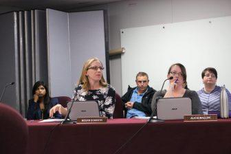School Committee members Megan Eckroth (left) and Alicia Mallon. PHOTO BY JOYCE PELLINO CRANE